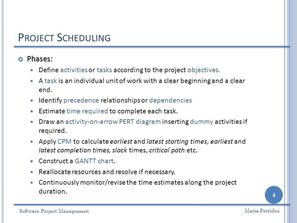 CPM – C RITICAL P ATH M ETHOD Software Project Management 35 Maria Petridou 25134 A ( 3 ) B ( 4 ) D ( 5 ) E ( 2 ) C ( 7 ) 0 4 3 11 13 11 8 4 0