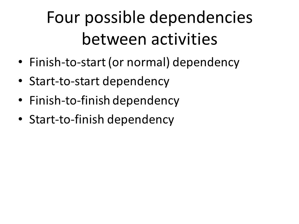 Four possible dependencies between activities Finish-to-start (or normal) dependency Start-to-start dependency Finish-to-finish dependency Start-to-finish dependency