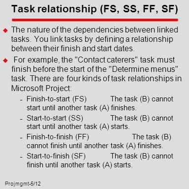 Projmgmt-5/12 Task relationship (FS, SS, FF, SF) u The nature of the dependencies between linked tasks. You link tasks by defining a relationship betw