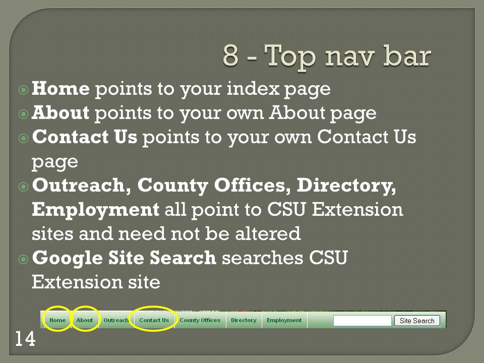 8 - Top nav bar Home points to your index page About points to your own About page Contact Us points to your own Contact Us page Outreach, County Offices, Directory, Employment all point to CSU Extension sites and need not be altered Google Site Search searches CSU Extension site 14