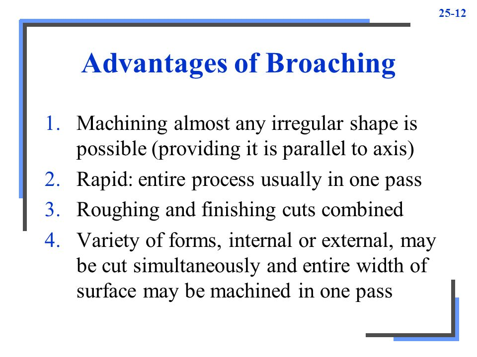 25-12 Advantages of Broaching 1.Machining almost any irregular shape is possible (providing it is parallel to axis) 2.Rapid: entire process usually in one pass 3.Roughing and finishing cuts combined 4.Variety of forms, internal or external, may be cut simultaneously and entire width of surface may be machined in one pass