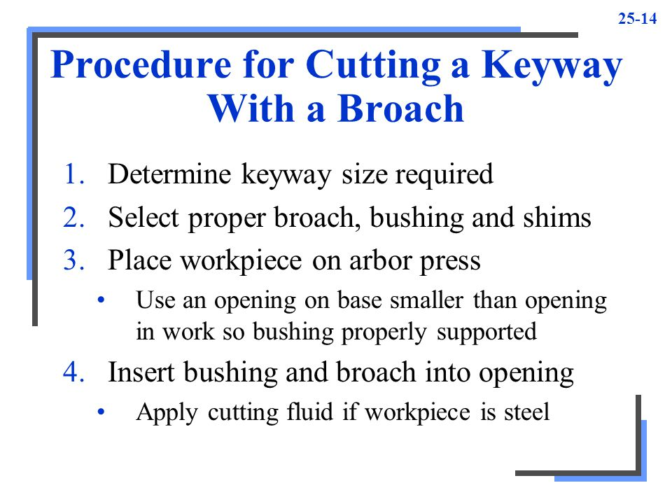 25-14 Procedure for Cutting a Keyway With a Broach 1.Determine keyway size required 2.Select proper broach, bushing and shims 3.Place workpiece on arbor press Use an opening on base smaller than opening in work so bushing properly supported 4.Insert bushing and broach into opening Apply cutting fluid if workpiece is steel