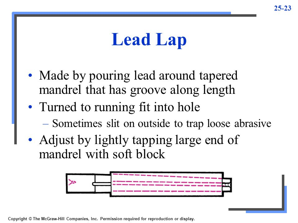 25-23 Lead Lap Made by pouring lead around tapered mandrel that has groove along length Turned to running fit into hole –Sometimes slit on outside to trap loose abrasive Adjust by lightly tapping large end of mandrel with soft block Copyright © The McGraw-Hill Companies, Inc.