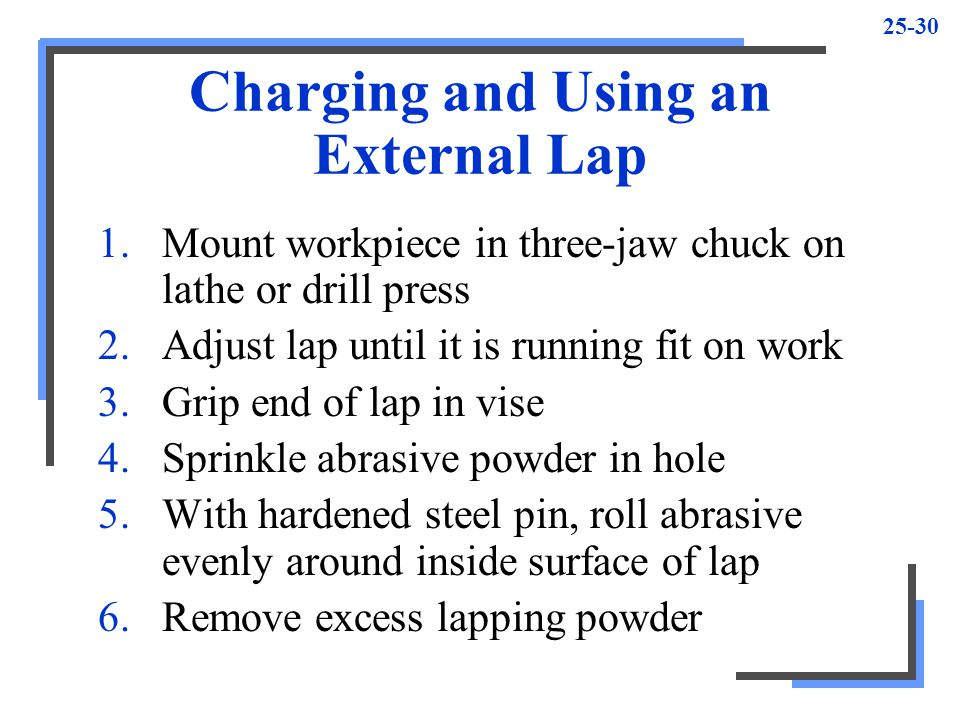 25-30 Charging and Using an External Lap 1.Mount workpiece in three-jaw chuck on lathe or drill press 2.Adjust lap until it is running fit on work 3.Grip end of lap in vise 4.Sprinkle abrasive powder in hole 5.With hardened steel pin, roll abrasive evenly around inside surface of lap 6.Remove excess lapping powder