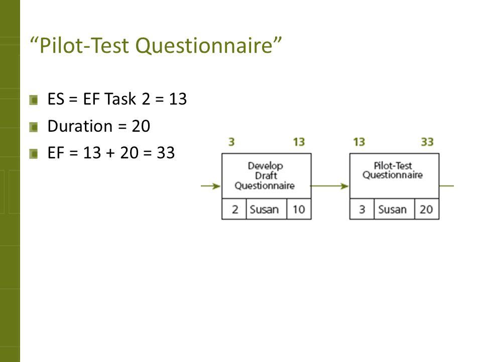 Pilot-Test Questionnaire ES = EF Task 2 = 13 Duration = 20 EF = 13 + 20 = 33