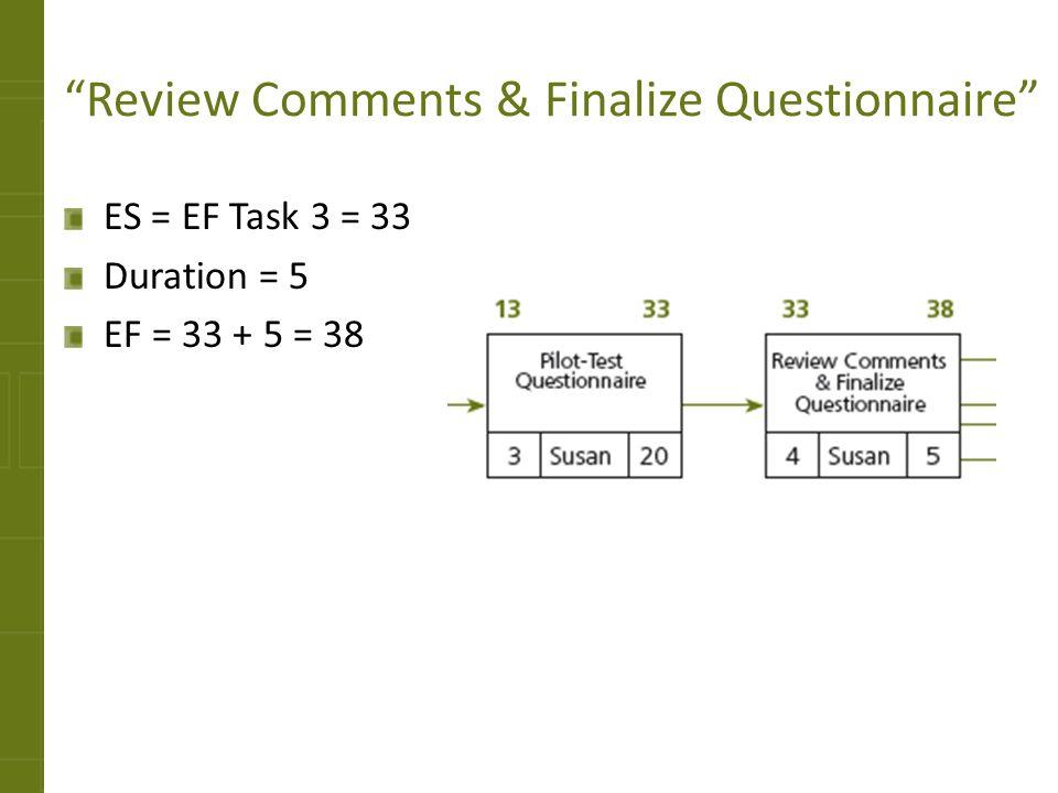 Review Comments & Finalize Questionnaire ES = EF Task 3 = 33 Duration = 5 EF = 33 + 5 = 38
