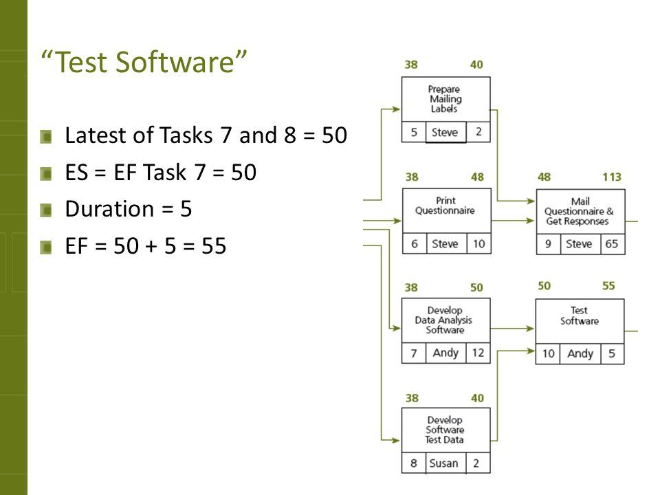Test Software Latest of Tasks 7 and 8 = 50 ES = EF Task 7 = 50 Duration = 5 EF = 50 + 5 = 55