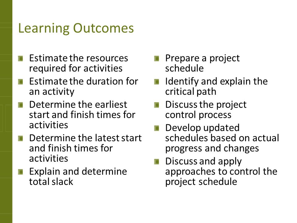 Learning Outcomes Estimate the resources required for activities Estimate the duration for an activity Determine the earliest start and finish times f