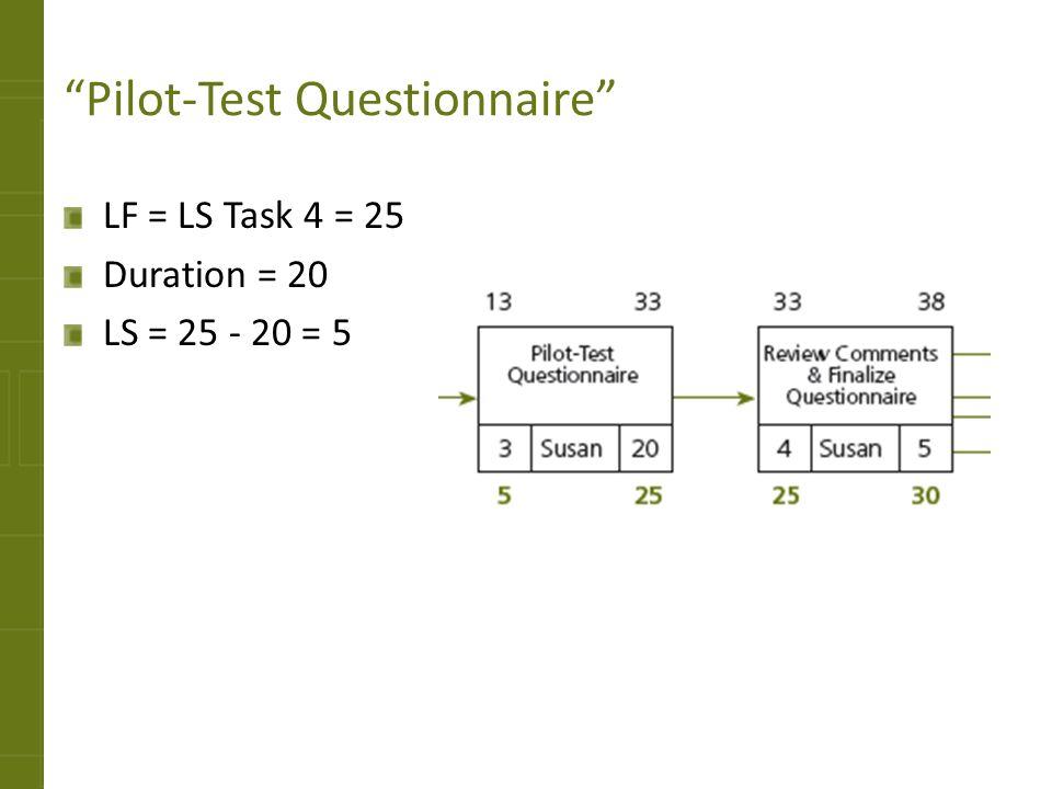 Pilot-Test Questionnaire LF = LS Task 4 = 25 Duration = 20 LS = 25 - 20 = 5