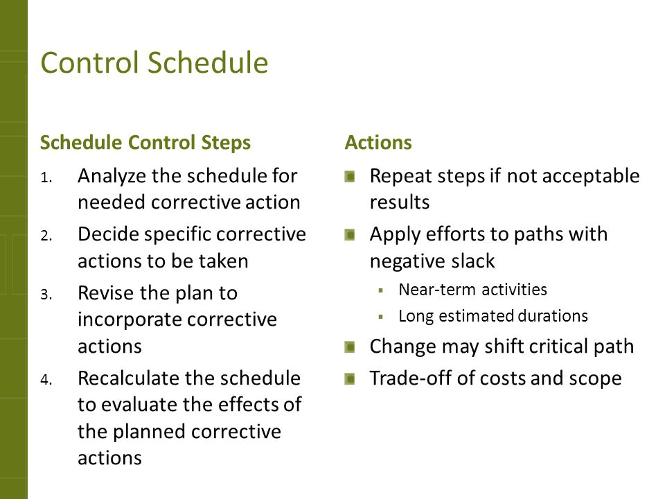 Control Schedule Schedule Control Steps 1. Analyze the schedule for needed corrective action 2. Decide specific corrective actions to be taken 3. Revi