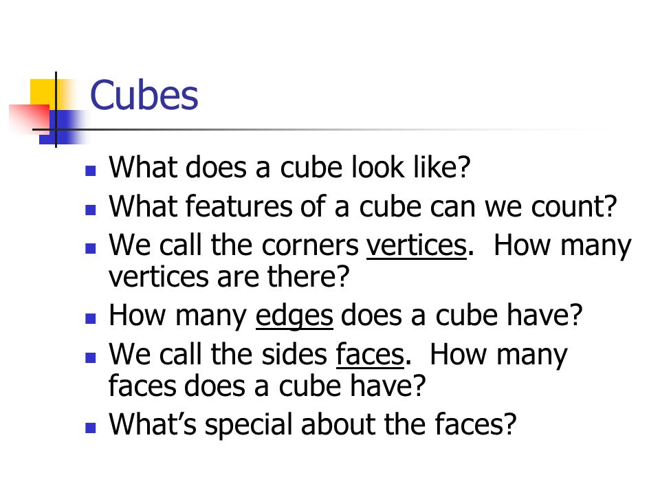 Cubes What does a cube look like. What features of a cube can we count.