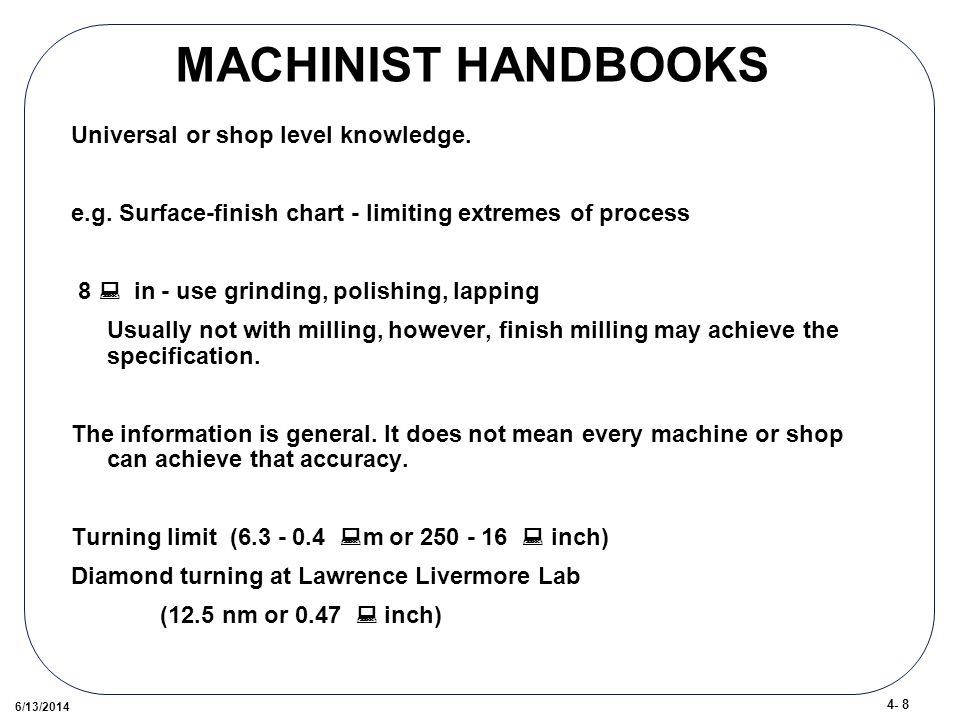 4- 8 6/13/2014 MACHINIST HANDBOOKS Universal or shop level knowledge.