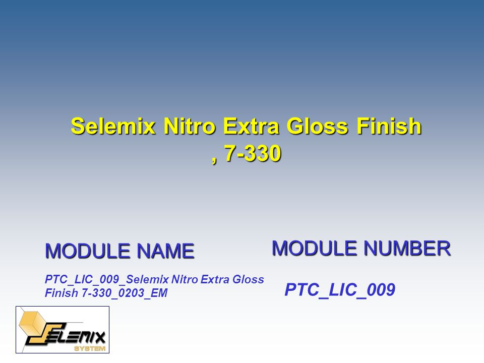 February 2003 Selemix Nitro Extra Gloss Finish, 7-330 Nitrocellulose Synthetic7-330 Binder Type Usage -Easy spray application, with very fast drying and a high gloss finish Suitable for all items made of ferrous metal Can be used over all Selemix Antirust products