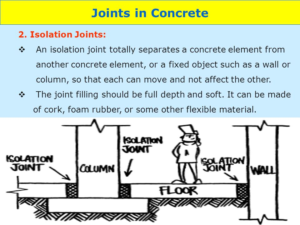 12 Joints in Concrete 2. Isolation Joints: An isolation joint totally separates a concrete element from another concrete element, or a fixed object su