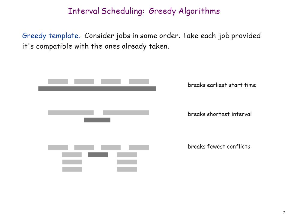8 Greedy algorithm.Consider jobs in increasing order of finish time.