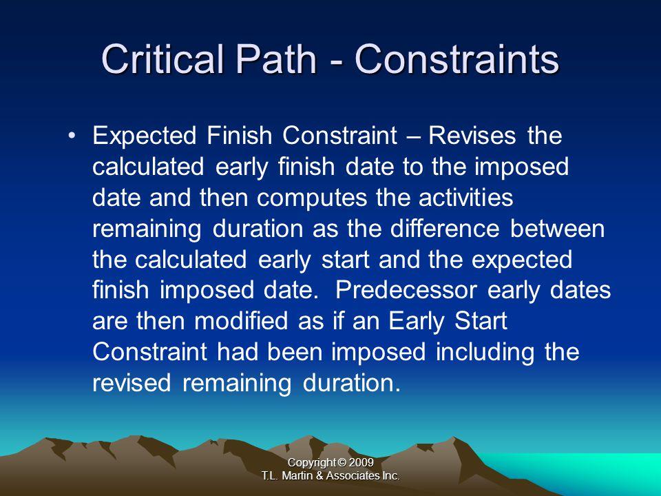 Copyright © 2009 T.L. Martin & Associates Inc. A.Constraints b) Float Constraints
