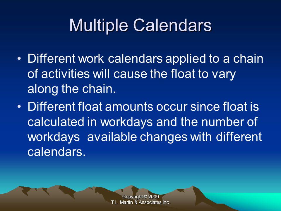 Copyright © 2009 T.L. Martin & Associates Inc. Multiple Calendars T.L. Martin & Associates, Inc.