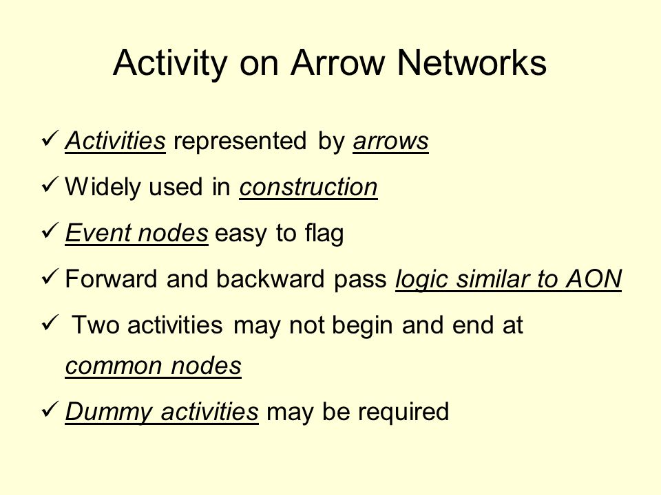 Activity on Arrow Networks Activities represented by arrows Widely used in construction Event nodes easy to flag Forward and backward pass logic similar to AON Two activities may not begin and end at common nodes Dummy activities may be required