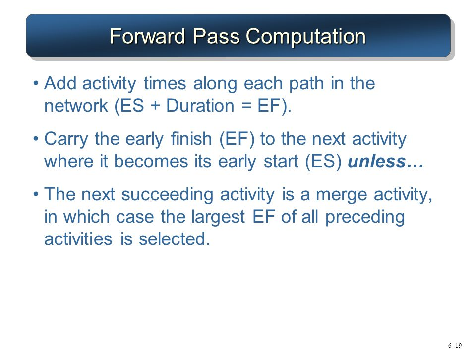 6–19 Forward Pass Computation Add activity times along each path in the network (ES + Duration = EF).