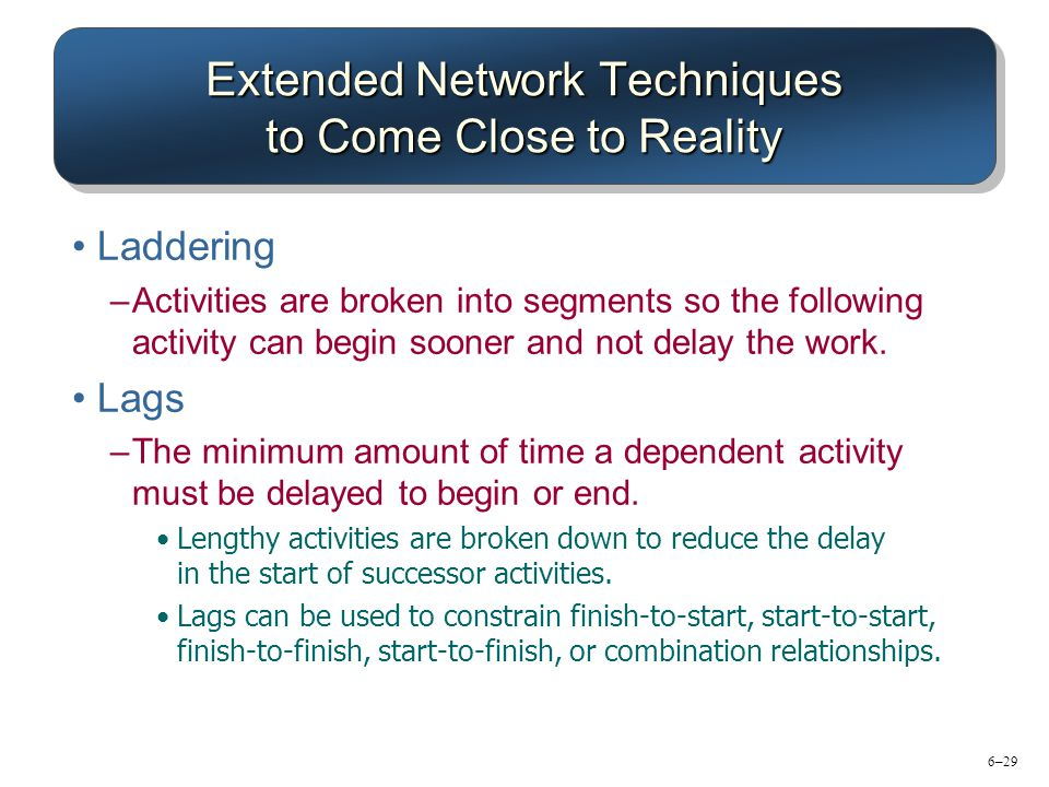6–29 Extended Network Techniques to Come Close to Reality Laddering –Activities are broken into segments so the following activity can begin sooner and not delay the work.