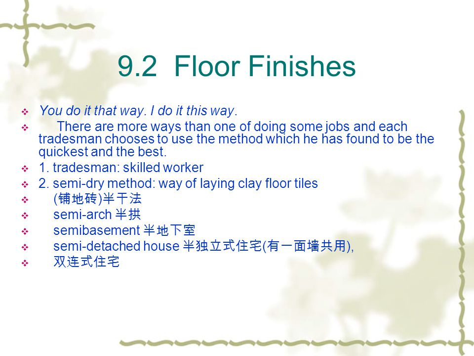 9.2 Floor Finishes 3.