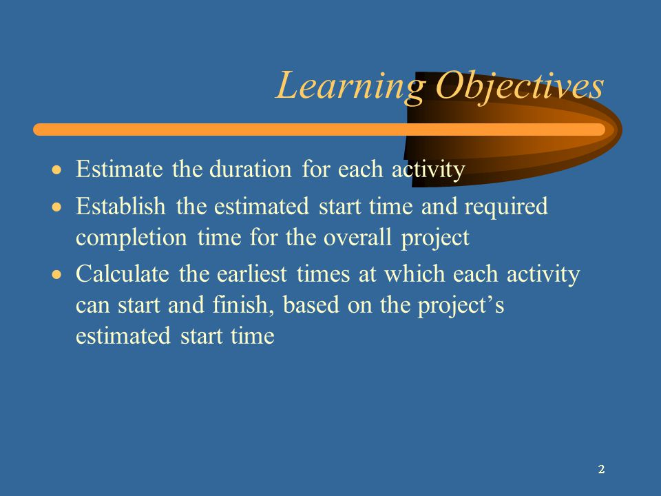 3 Learning Objectives (Cont.) Calculate the latest times by which each activity must start and finish in order to complete the project by its required completion time Determine the amount of positive or negative slack Identify the critical (longest) path of activities