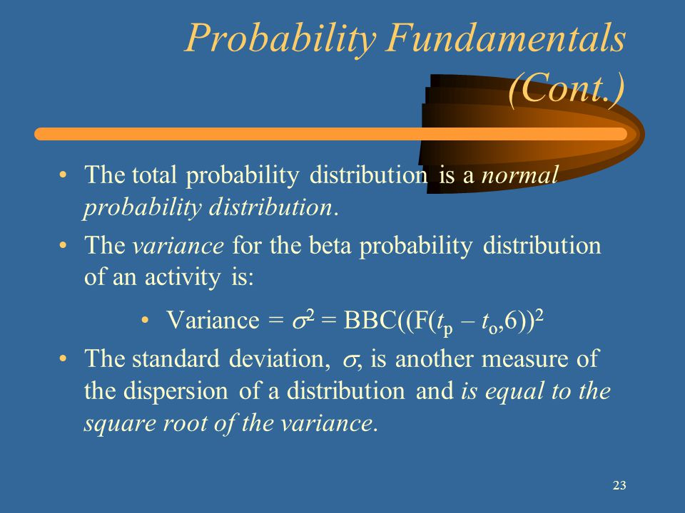23 Probability Fundamentals (Cont.) The total probability distribution is a normal probability distribution.