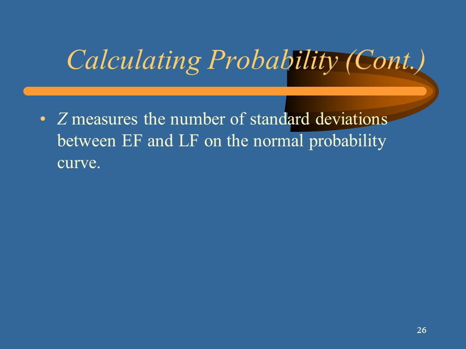 26 Calculating Probability (Cont.) Z measures the number of standard deviations between EF and LF on the normal probability curve.