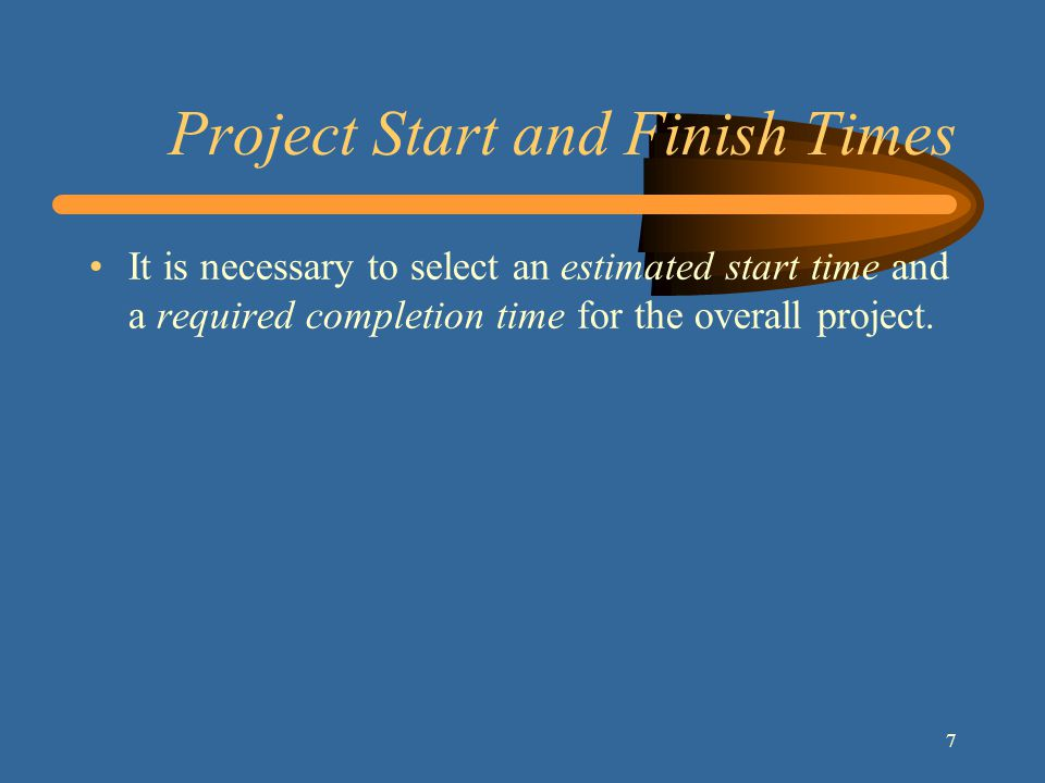 8 Schedule Calculations A project schedule includes: –the earliest times (or dates) at which each activity can start and finish, based on the project s estimated start time (or date) –the latest times (or dates) by which each activity must start and finish in order to complete the project by its required completion time (or date)