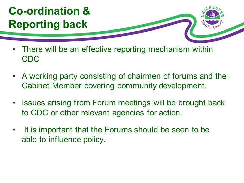 Co-ordination & Reporting back There will be an effective reporting mechanism within CDC A working party consisting of chairmen of forums and the Cabinet Member covering community development.