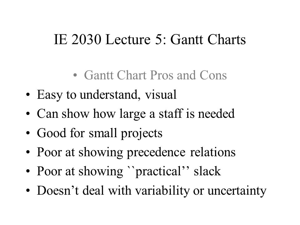IE 2030 Lecture 5: Gantt Charts Slack time example 2 2 5 The first 2-time-unit activity has slack 0, and the second has a slack of 1. Either (but not