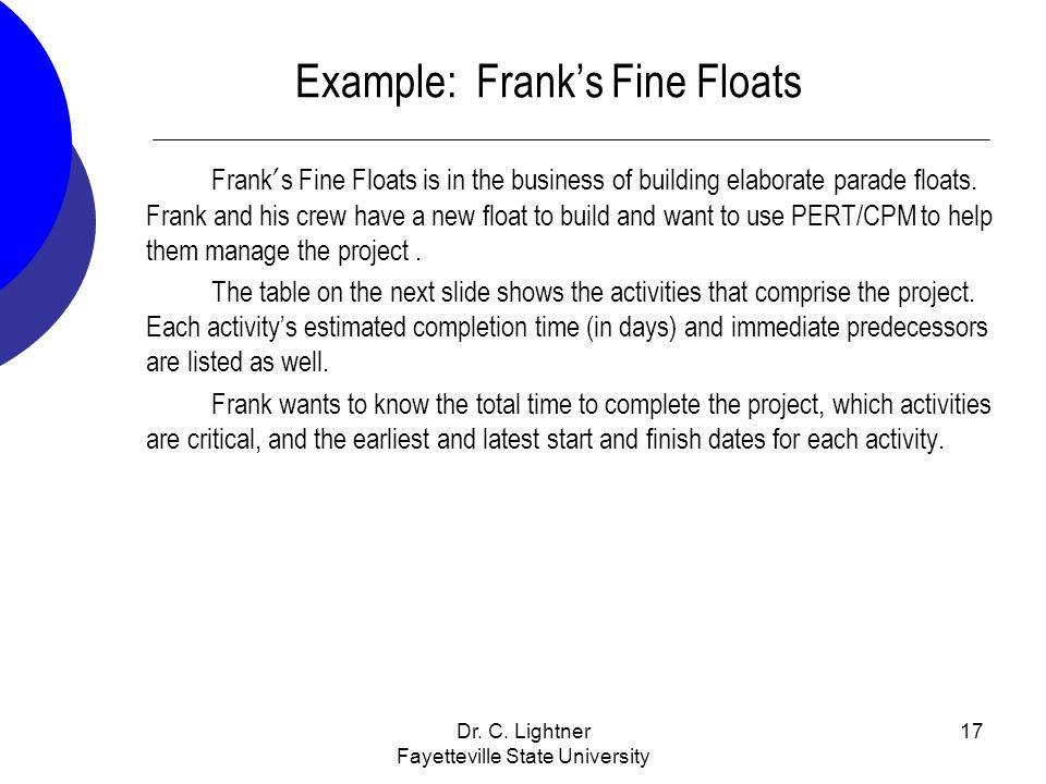Dr. C. Lightner Fayetteville State University 17 Example: Franks Fine Floats Frank s Fine Floats is in the business of building elaborate parade float