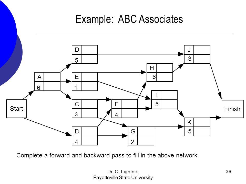 Dr. C. Lightner Fayetteville State University 36 Example: ABC Associates E1E1 Start A H 6 D5D5 F4F4 J3 I5 K 5 Finish B4B4 C3C3 G2G2 6 Complete a forwa