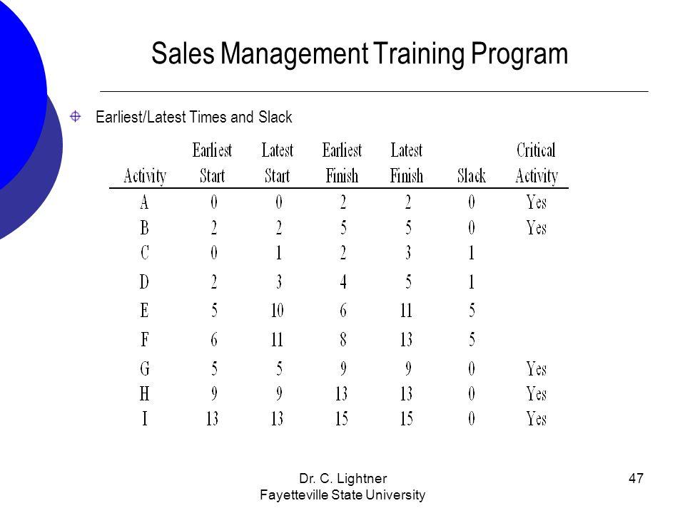 Dr. C. Lightner Fayetteville State University 47 Sales Management Training Program Earliest/Latest Times and Slack