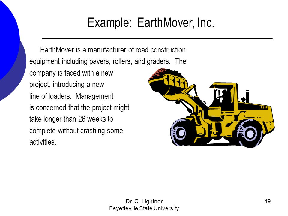 Dr. C. Lightner Fayetteville State University 49 EarthMover is a manufacturer of road construction equipment including pavers, rollers, and graders. T