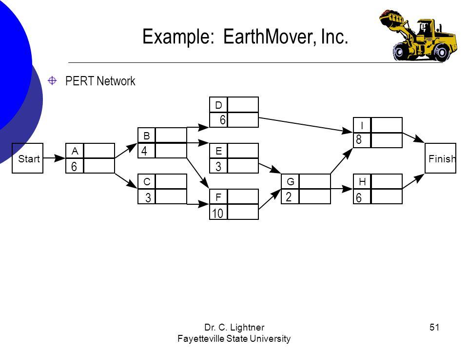 Dr. C. Lightner Fayetteville State University 51 PERT Network Example: EarthMover, Inc. 6 4 3 10 3 6 2 6 8
