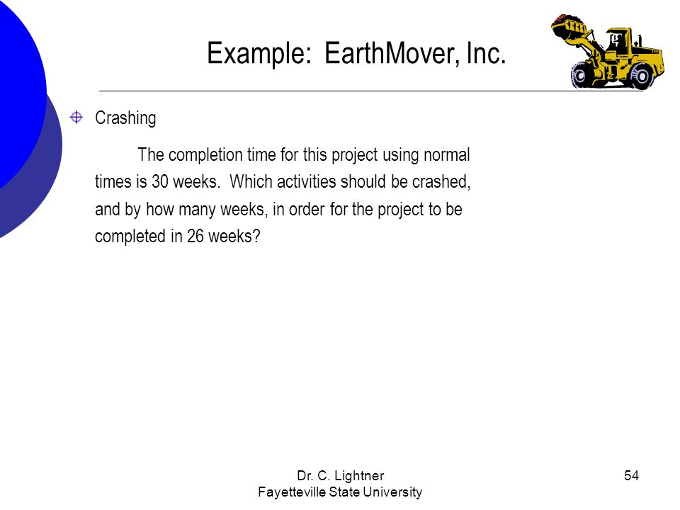 Dr. C. Lightner Fayetteville State University 54 Example: EarthMover, Inc. Crashing The completion time for this project using normal times is 30 week
