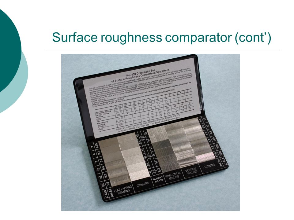 Surface roughness comparator (cont)