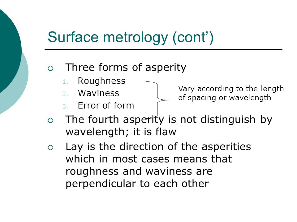 Surface metrology (cont) Three forms of asperity 1.
