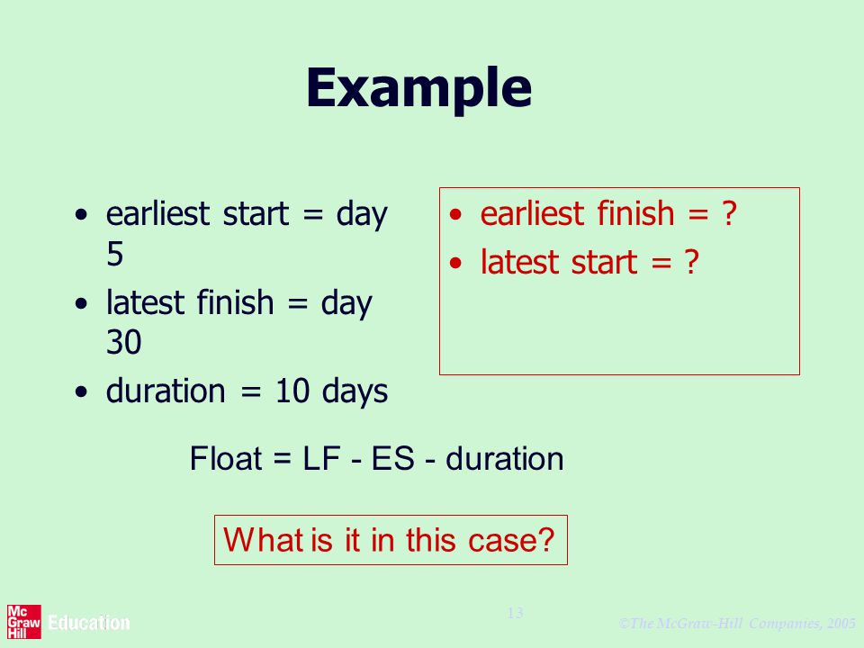© The McGraw-Hill Companies, 2005 13 Example earliest start = day 5 latest finish = day 30 duration = 10 days earliest finish = .