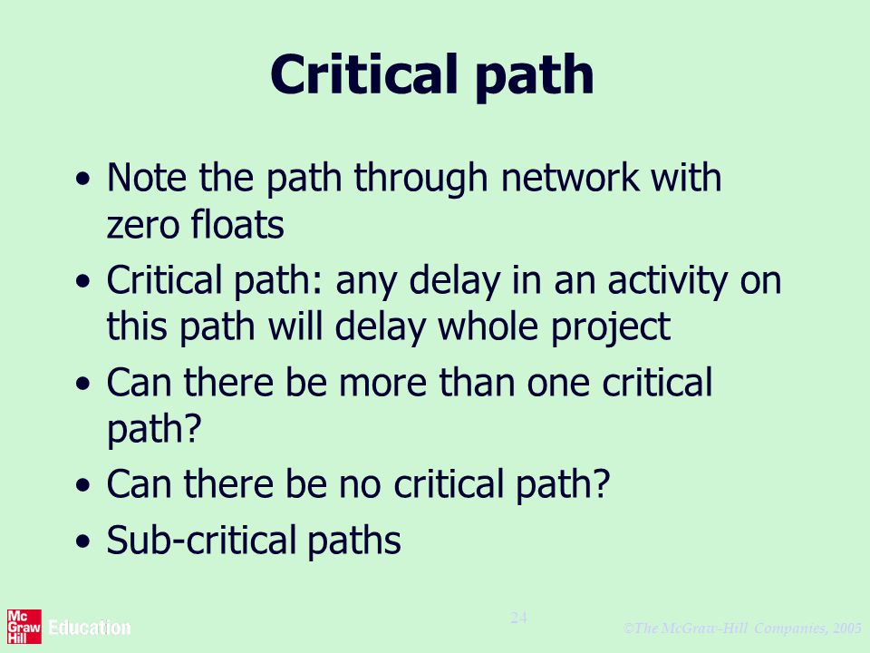 © The McGraw-Hill Companies, 2005 24 Critical path Note the path through network with zero floats Critical path: any delay in an activity on this path will delay whole project Can there be more than one critical path.