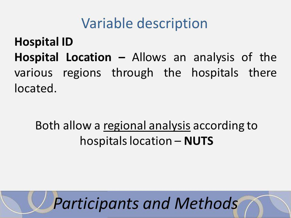 Participants and Methods Variable description Hospital ID Hospital Location – Allows an analysis of the various regions through the hospitals there located.