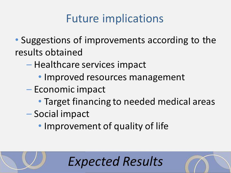 Suggestions of improvements according to the results obtained – Healthcare services impact Improved resources management – Economic impact Target financing to needed medical areas – Social impact Improvement of quality of life Expected Results Future implications