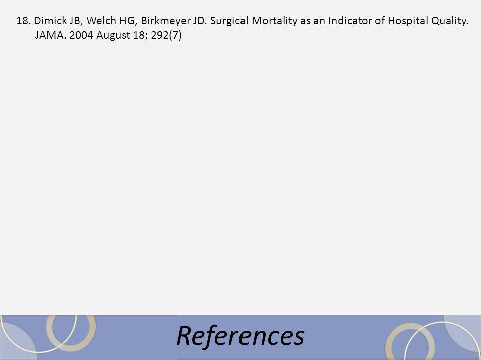 18. Dimick JB, Welch HG, Birkmeyer JD. Surgical Mortality as an Indicator of Hospital Quality.