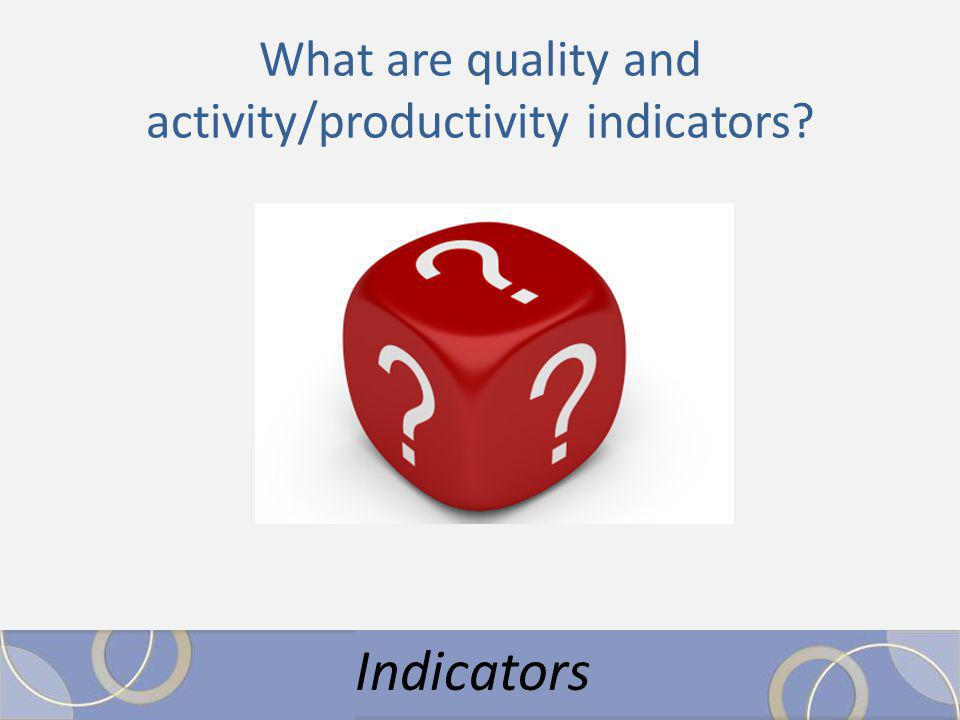 What are quality and activity/productivity indicators Indicators
