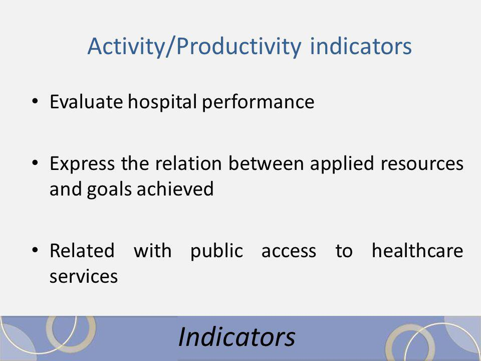 Activity/Productivity indicators Evaluate hospital performance Express the relation between applied resources and goals achieved Related with public access to healthcare services Indicators