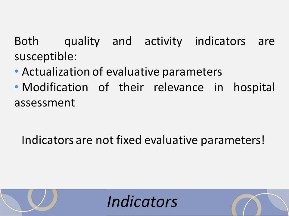 Both quality and activity indicators are susceptible: Actualization of evaluative parameters Modification of their relevance in hospital assessment Indicators are not fixed evaluative parameters!