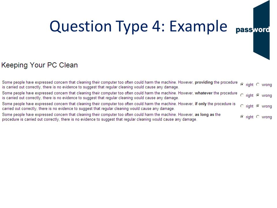 Question Type 4: Example