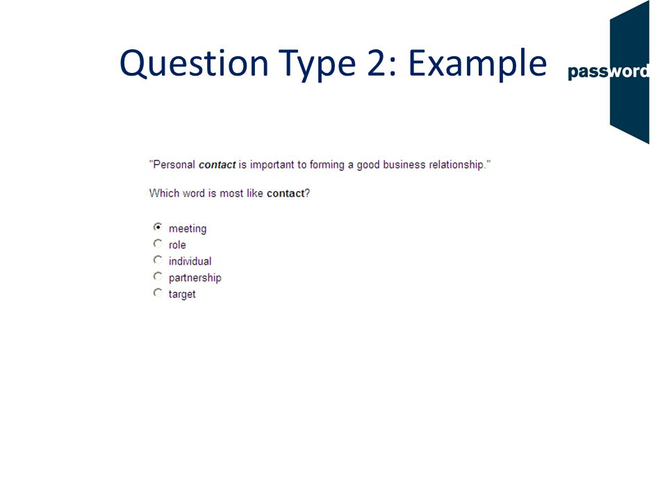 Question Type 2: Example