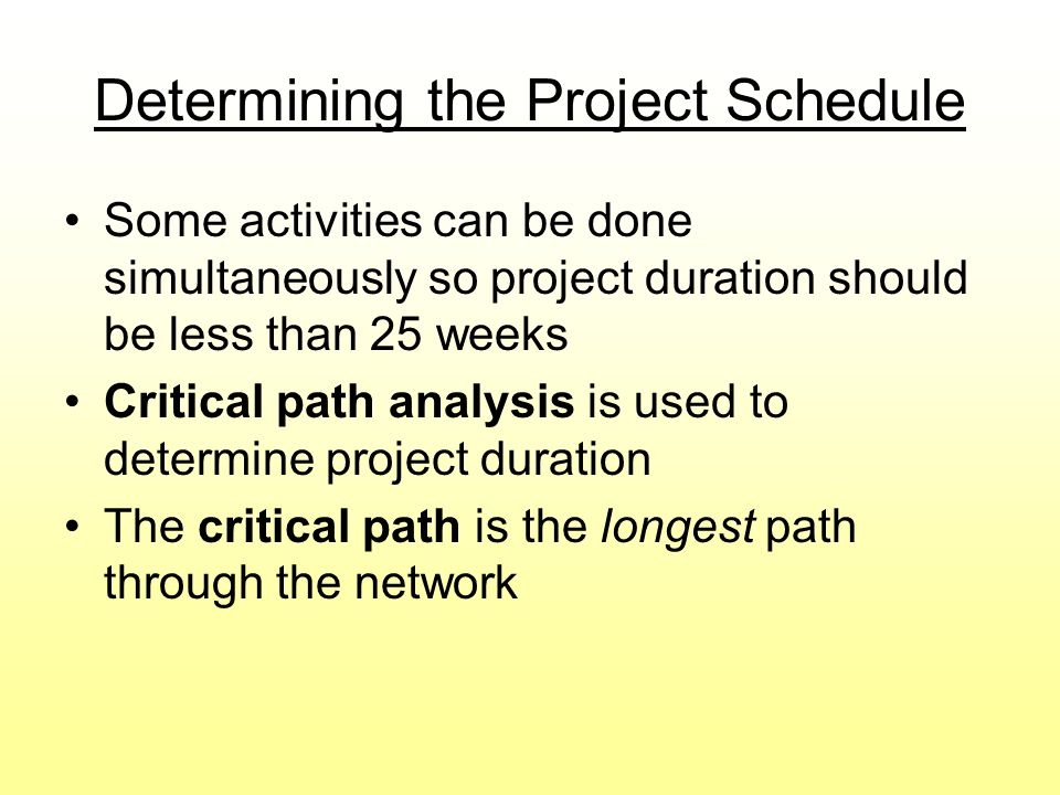 Determining the Project Schedule Some activities can be done simultaneously so project duration should be less than 25 weeks Critical path analysis is